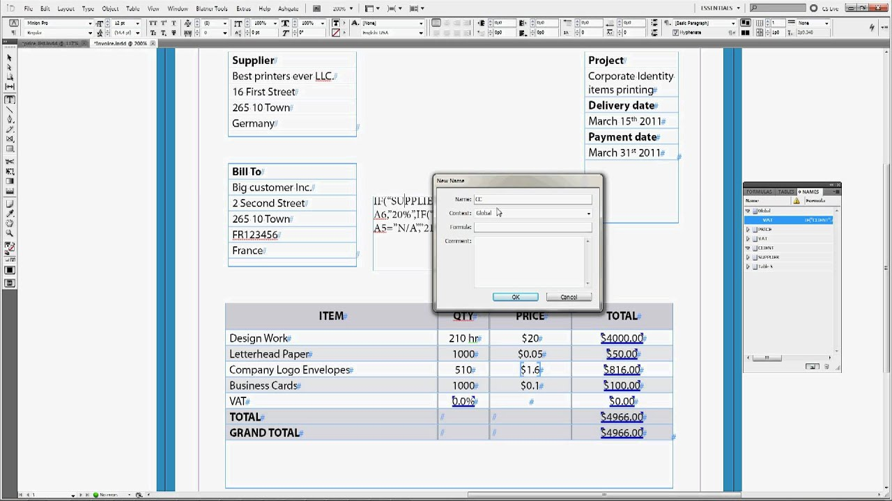 Invoice Program Free Excel Active Tables Tutorial Creating A Smart Invoice In Indesign   Tax Invoice Layout with Ford Fiesta Invoice Price Excel Active Tables Tutorial Creating A Smart Invoice In Indesign  Make A Fake Receipt Online Excel