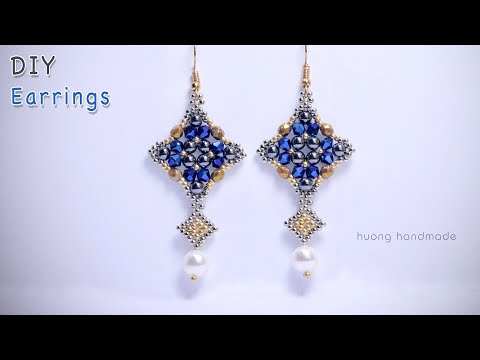 DIY beaded earrings. Jewelry making. Easy tutorial