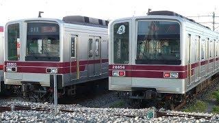 【2019年度 設備投資計画発表 東武20000系列 21803F、21804F 2編成 車内広告を外され 運用離脱中】本日21856Fも北春日部留置。20400系は2019年度 5編成改造予定。