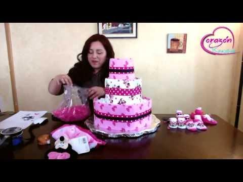 Como hacer un pastel de pañales para Baby Shower DIY