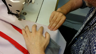 Pre-cut jacket part 14: attaching lining to jacket