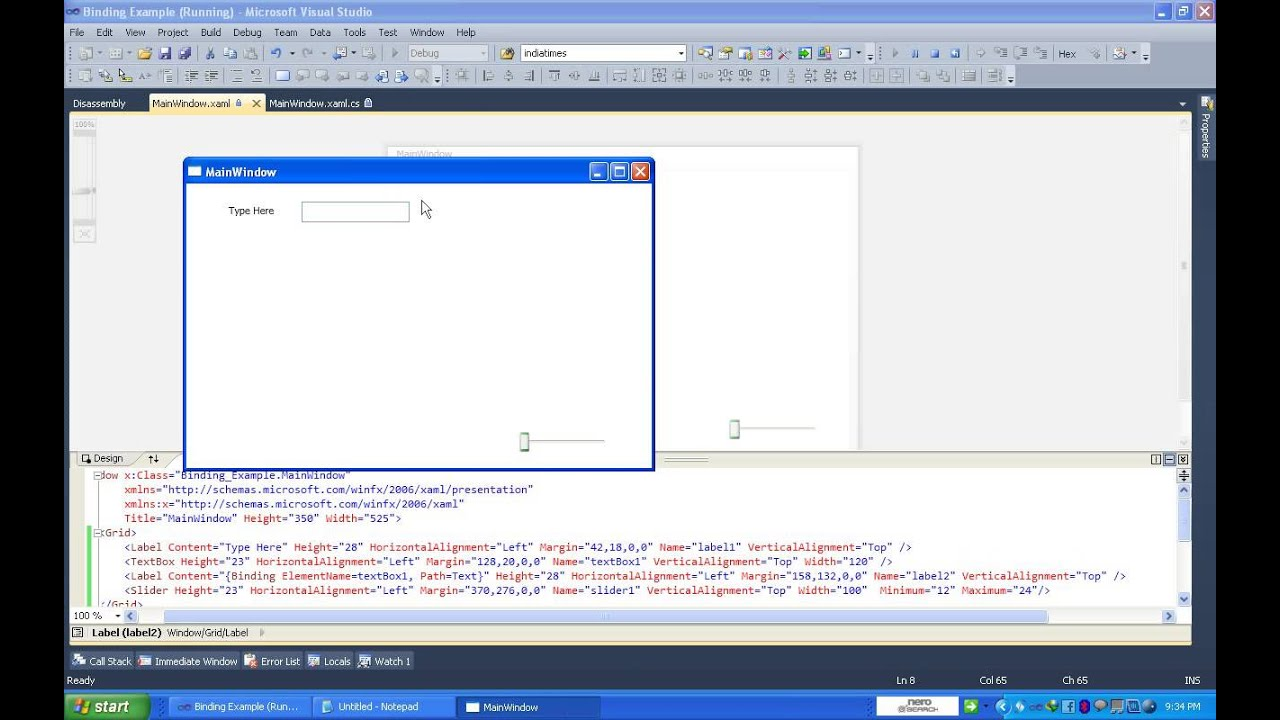 Data Binding With Slider Control WPF