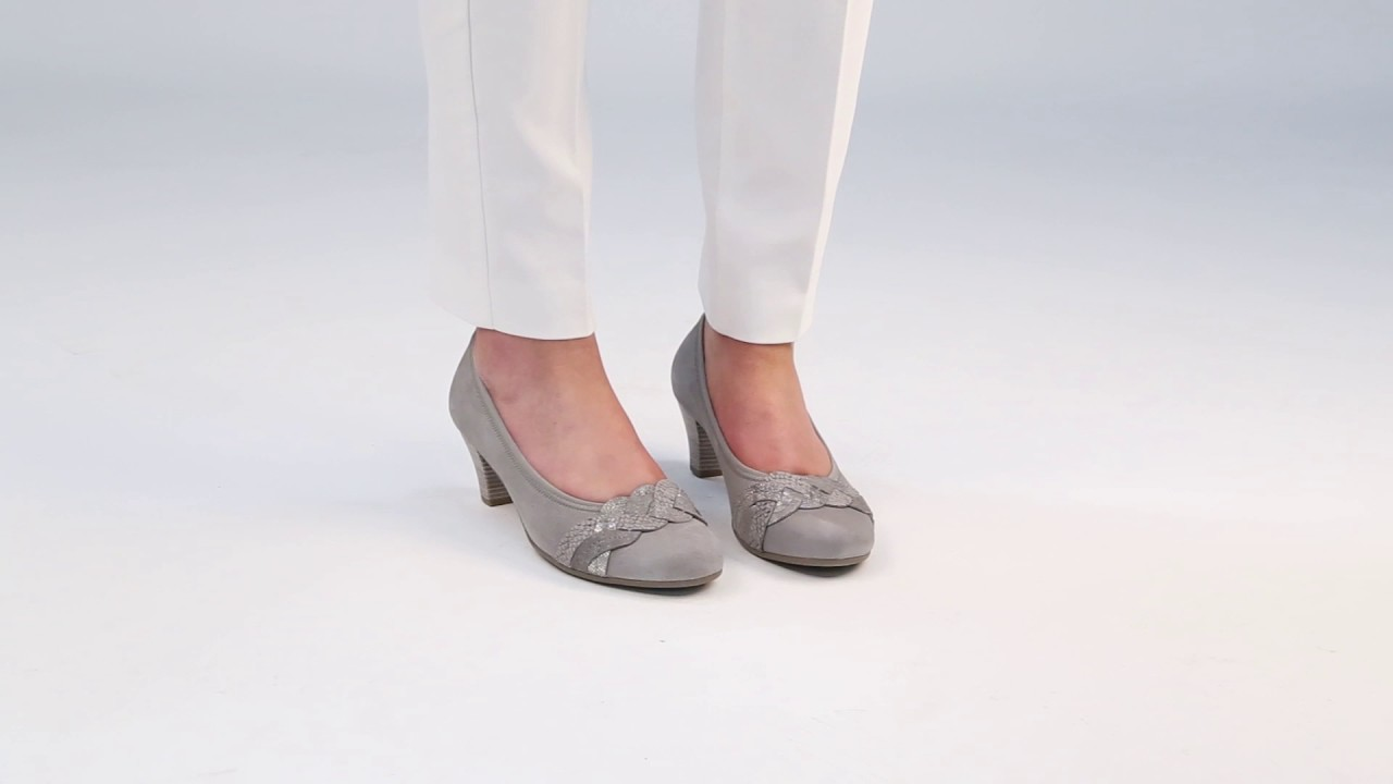Pale Grey Suede Court Shoes