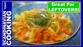 Kogt Revet Hvidkål Og  Gulerødder - Sauteed Shredded Cabbage And Carrots Side Dish Recipe