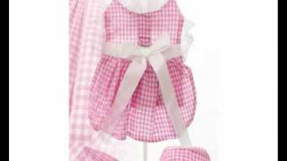 Pink Gingham Harness Dress, Lead & Cap For Yorkies
