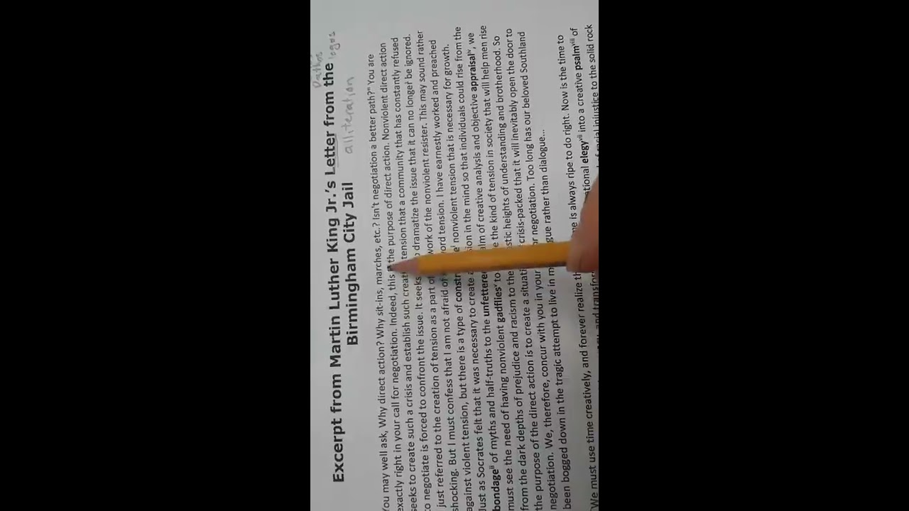 analysis of martin luther kings letter Martin luther king jr's letter from birmingham jail, which was written in april 16, 1963, is a passionate letter that addresses and responds to the issue and criticism that a group of white clergymen had thrown at him and his pro- black american organization about his and his organization's non- violent demonstrative actions against racial.