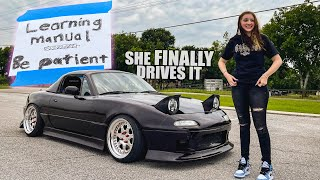homepage tile video photo for Little Sister Learns to drive her SLAMMED MIATA!