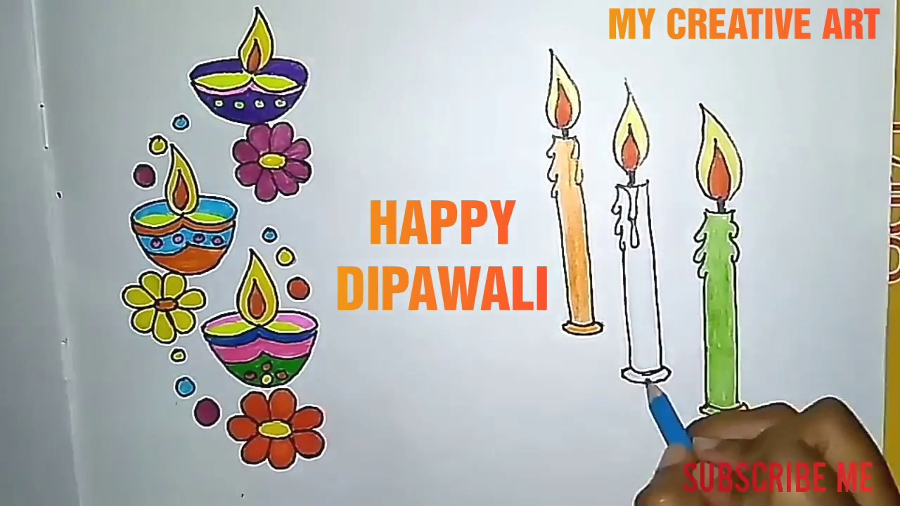 How to draw diwali poster for kids || happy dipawali poster drawing || Happy diwali drawing - YouTube