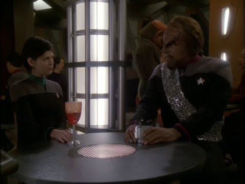 Lieutenant Ezri Dax talk to Lt. Commander Worf