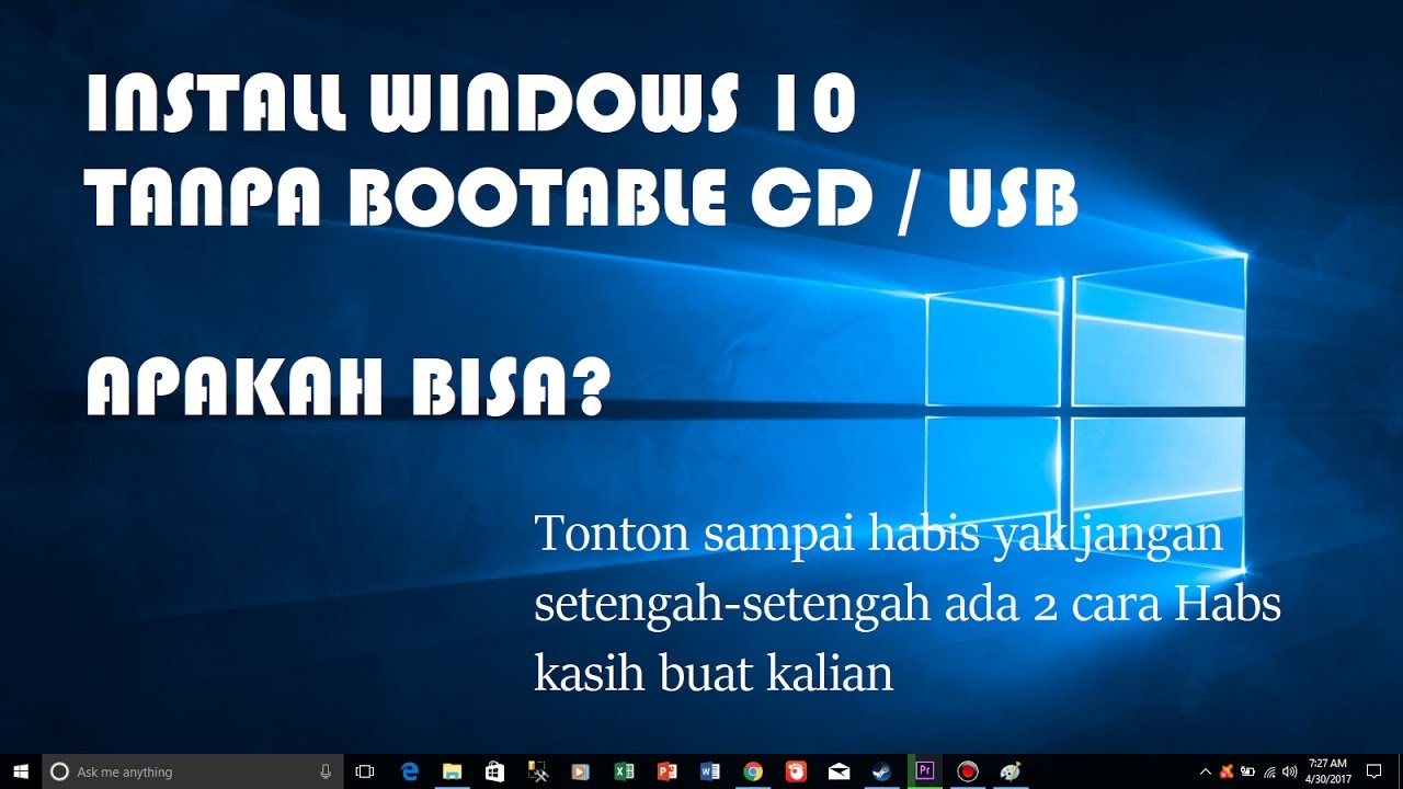 tutorial install windows 10 tanpa bootable usb cd youtube. Black Bedroom Furniture Sets. Home Design Ideas