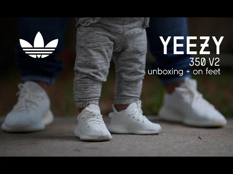 f0a0eb66 Adidas Yeezy Boost 350 V2 Infant 'Cream' Unboxing - On Feet - YouTube