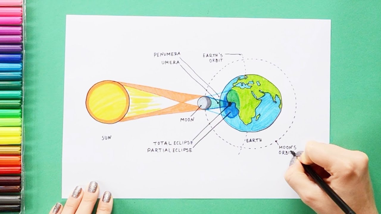 hight resolution of how to draw and color solar eclipse labeled science diagrams