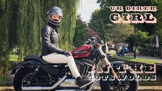 UK Biker Girl and my Harley Davidson 48 Special. Riding out in the Cotswolds