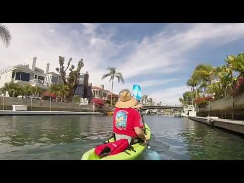 Kayaking Naples Island canal, Long Beach, California
