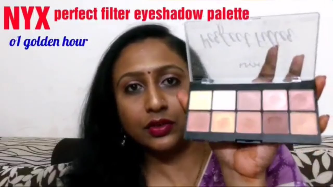 NYX perfect filter eyeshadow palette review - 01golden hour, NYX eyeshadow  palette review
