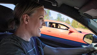 Mom Races Camaro in her New 400hp Turbo Car!