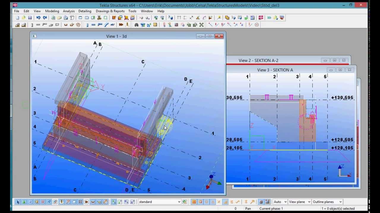 Tekla modeling tutorial - Bridge support, part 3/6