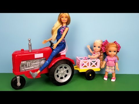 Tractor Ride ! Elsa and Anna toddlers - camping at the farm - tent - Barbie is the farmer