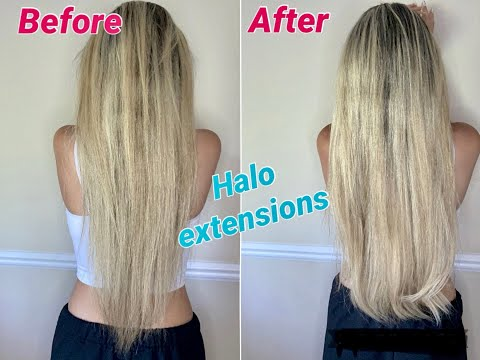 HOW TO PUT ON HALO HAIR EXTENSIONS //REVIEW