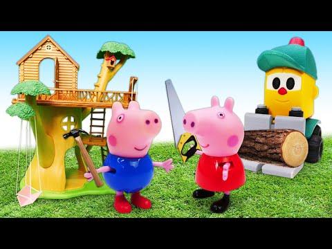 Пеппа и Джордж строят домик - Машины сказки  на ночь. Мультик из игрушек