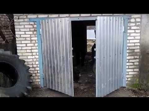 Ворота в гараж из профильной трубы своими руками