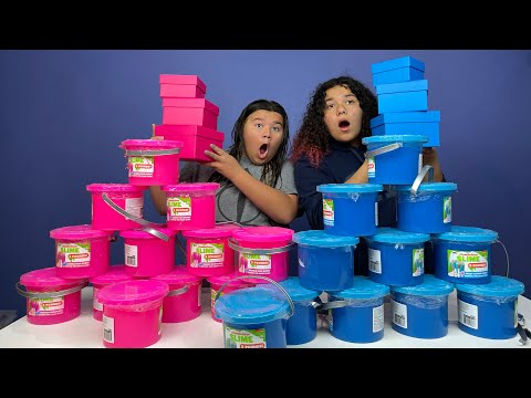 FIX THIS 100 POUND BUCKET OF STORE BOUGHT SLIME CHALLENGE!! PINK VS BLUE