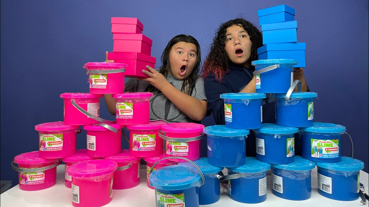Download FIX THIS 100 POUND BUCKET OF STORE BOUGHT SLIME CHALLENGE!! PINK VS BLUE
