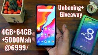 infinix hot 8 unboxing + Giveaway | Best Phone under 7000 | 4Gb+64Gb | 5000 Mah best battery