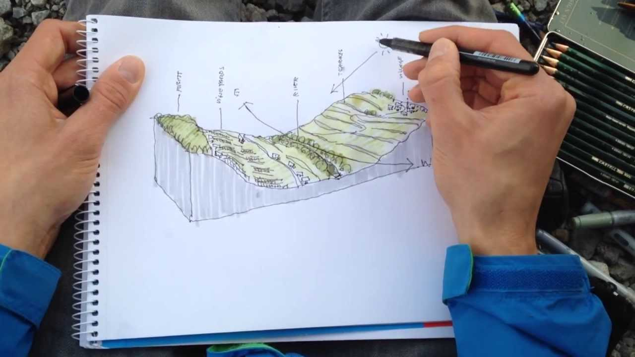 Landscape Architecture Section Drawings how to draw a landscape section - youtube