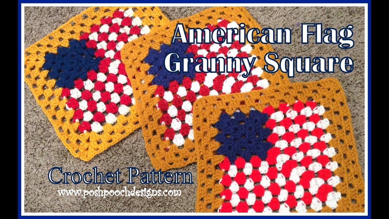 American Flag Granny Square Crochet Pattern Youtube
