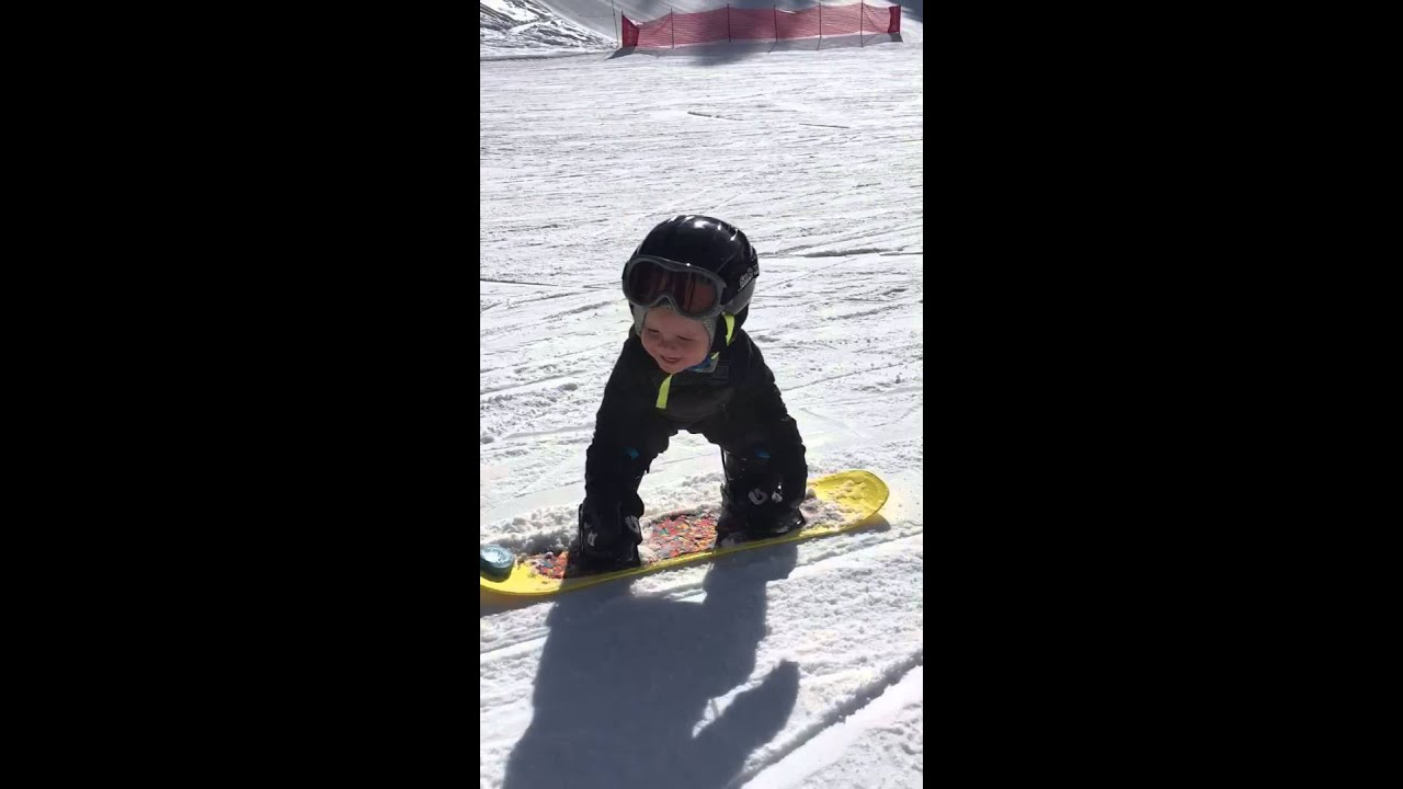 baby snowboarding only 1 1 2 years old youtube