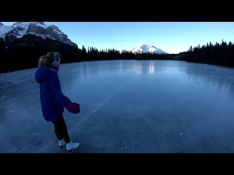 Canadian Rockies Lake Skating