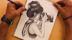 How to Draw a Girl is holding the camera with pencil sketch | Learn to Draw | Sketching Video