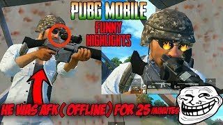 He was AFK(Offline) for 25 min still survived😱| PUBGM Funny Highlights😂| Check Out !!