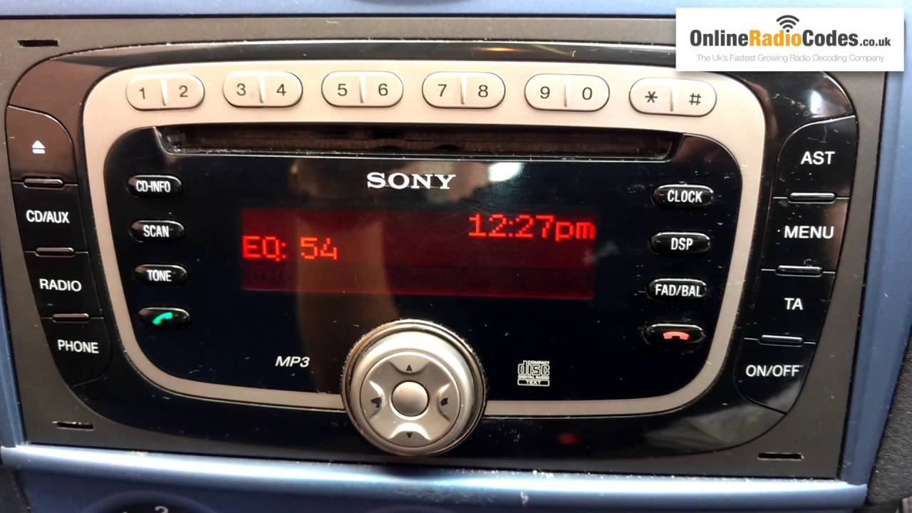 how to find ford radio code serial from the radio s display sony rh youtube com GPS Navigation Sony Navigation Controller