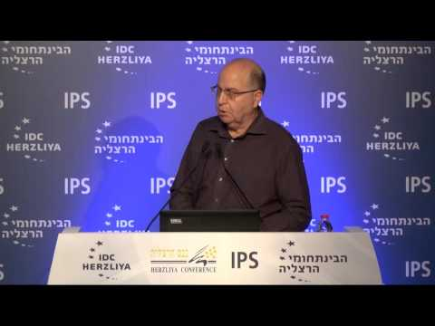 Former defense minister Moshe Ya'alon speaks at Herzliya Conference