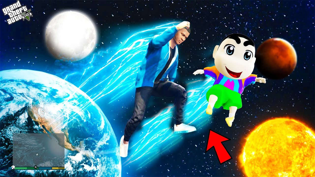 Download GTA 5 : Shinchan & Pinchan Jumping In Space Challenge With Franklin ! (GTA 5 mods)