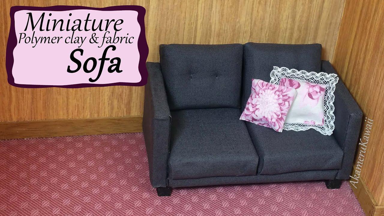 Miniature Sofa Cushion Set Doll Polymer Clay Fabric Tutorial Youtube