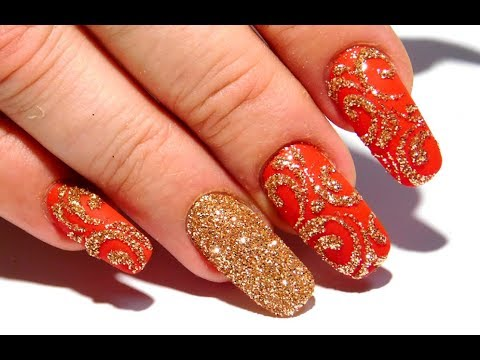 Самый простой маникюр  Осенний дизайн ногтей Золото
