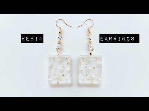 diy resin earrings/simple and beautiful  earrings using uv resin/resin jewelry
