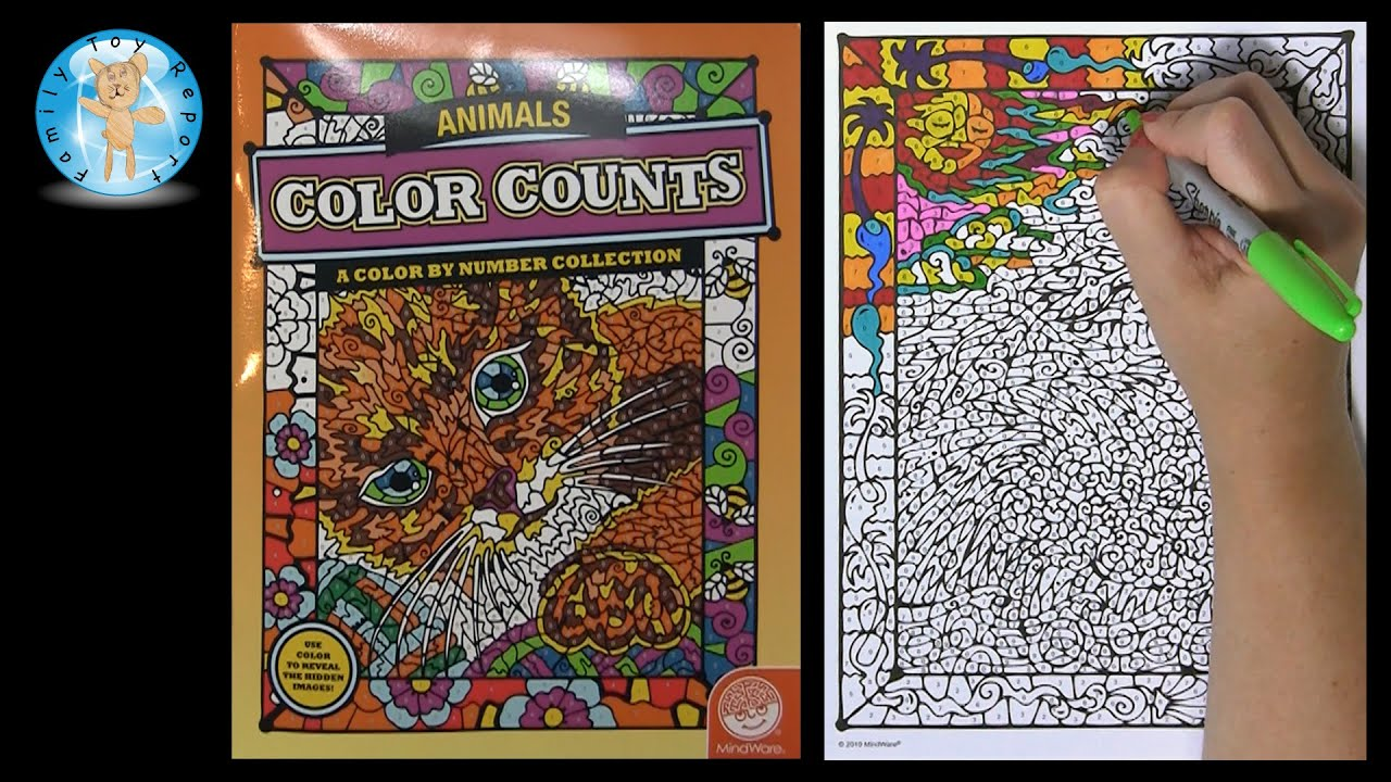 mindware color counts animals color by number coloring book dolphins family toy report youtube - Color By Number Books