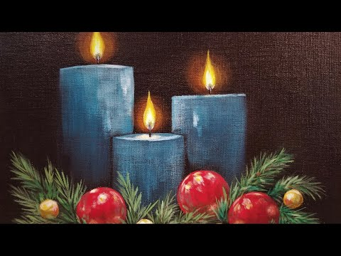 Christmas Candles LIVE Acrylic Painting Tutorial
