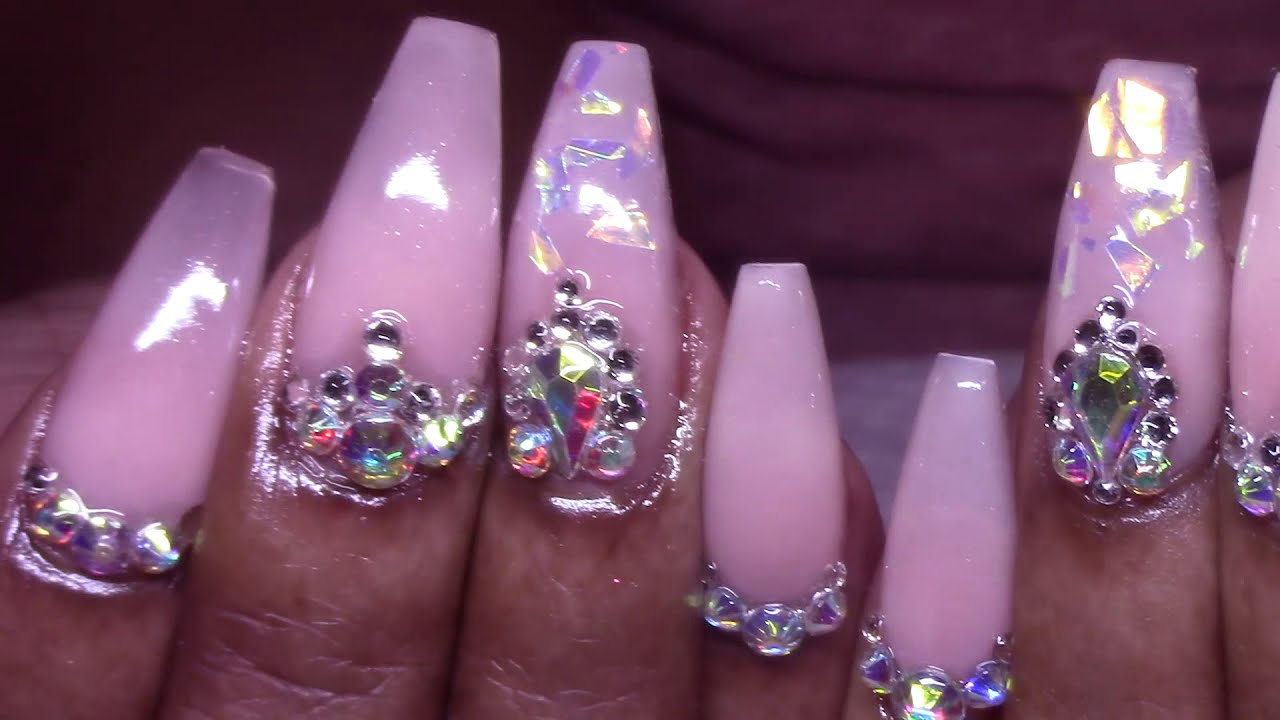 Femi's Elegant Frosted Pink Blingy Acrylic Nails Full Set Tutorial