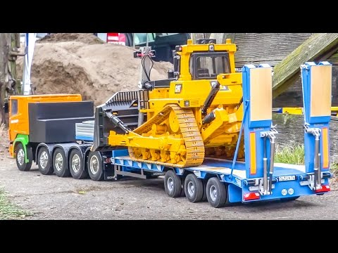 BIG RC truck ACTION! Scania, MAN and Mercedes-Benz working hard!