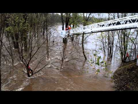 Water Rescue in the Monocacy River in Walkersville, MD after Hurricane Sandy