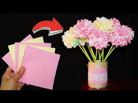 Easy paper flowers making | Flowers napkin paper | DIY paper crafts | Julia DIY