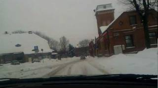 BMW E36 316i powerslide at snowy day | Limbazi city streets