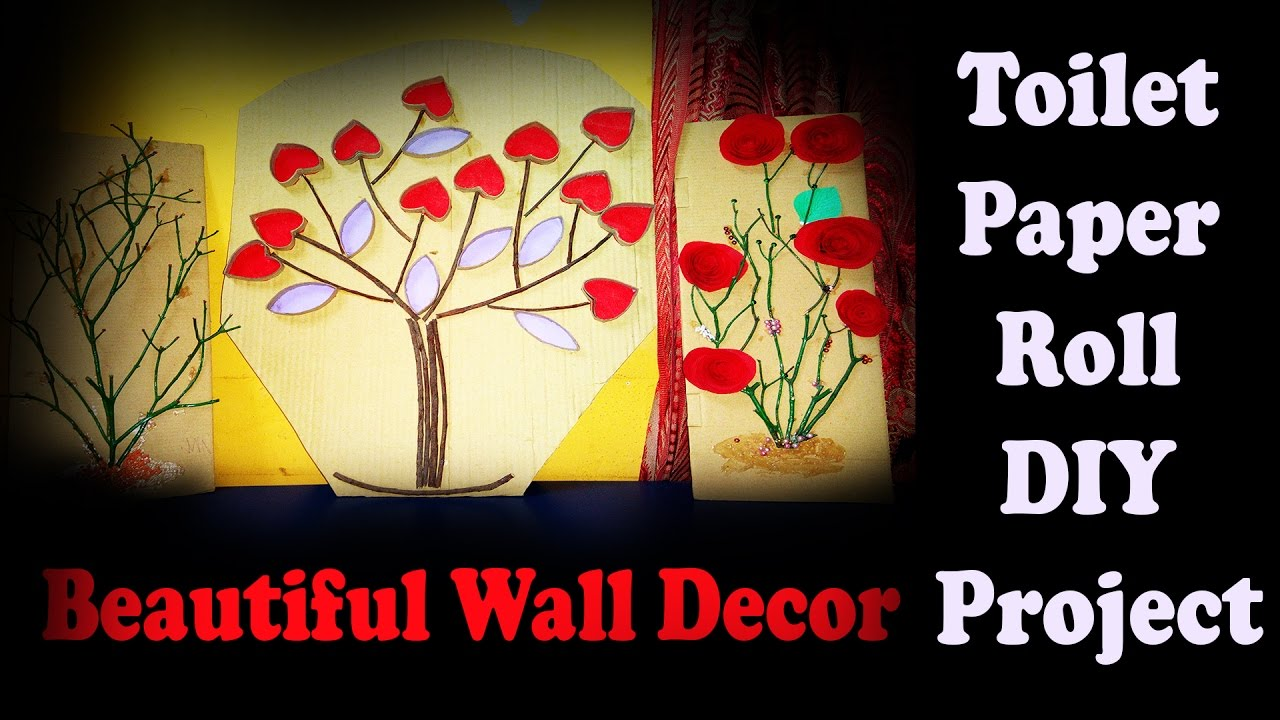 How To Making Cute Valentine heart wall decor Art Using Paper Rolls ...