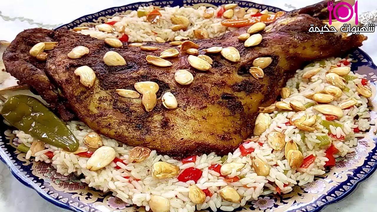 كتف الخروف مشوي فالفران رطب و طري بتتبيلة رائعة مع أرز لذيذ بطريقة مميزة و مبهرة😋