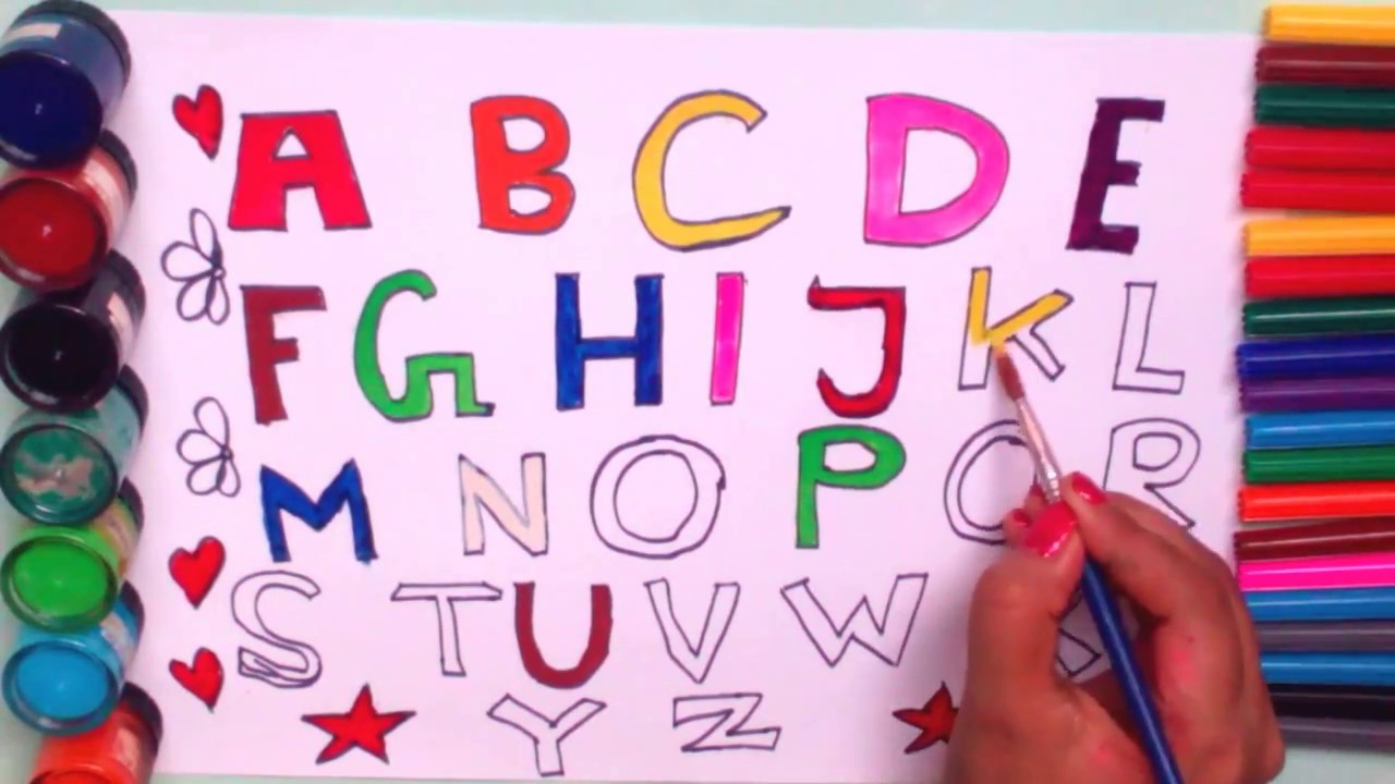 How To Draw & Paint Alphabet For Kids||Drawing Capital letter - YouTube